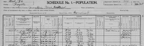 """United States Census, 1900,"" index and images, FamilySearch (https://familysearch.org/pal:/MM9.3.1/TH-267-11931-68695-71?cc=1325221&wc=M94B-XQX:n435351443 : accessed 24 Jan 2014), West Virginia > Fayette > ED 17 Mountain Cove district (north side) Ansted & Hawks Nest towns; citing NARA microfilm publication T623"
