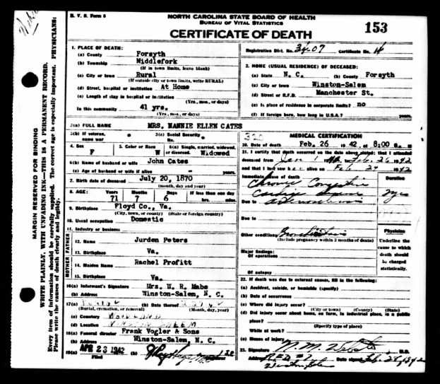 1942 Nannie Ellen Cates death