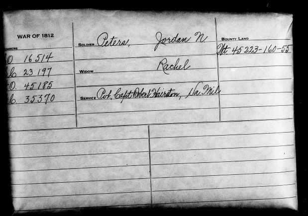 MRIN00056 War of 1812 pension card for Jordan Peters
