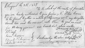 MRIN07823 1837 Sarah Cox permission to marry Jordan Peters
