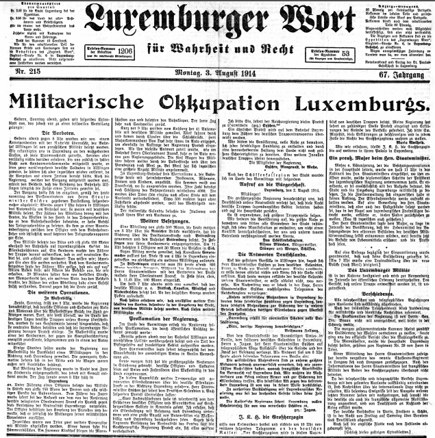 Military Occupation of Luxembourg –1914