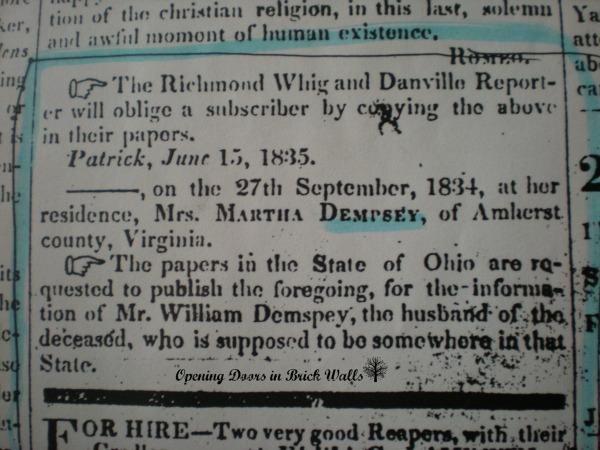 "52 Ancestors: #39 Martha ""Patsy"" LANDRUM, AnOrphan"