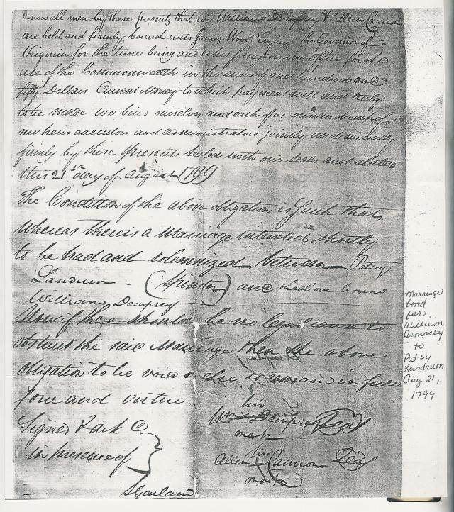 MRIN09274 1799 William Dempsey + Patsey Landrum Marriage Bond