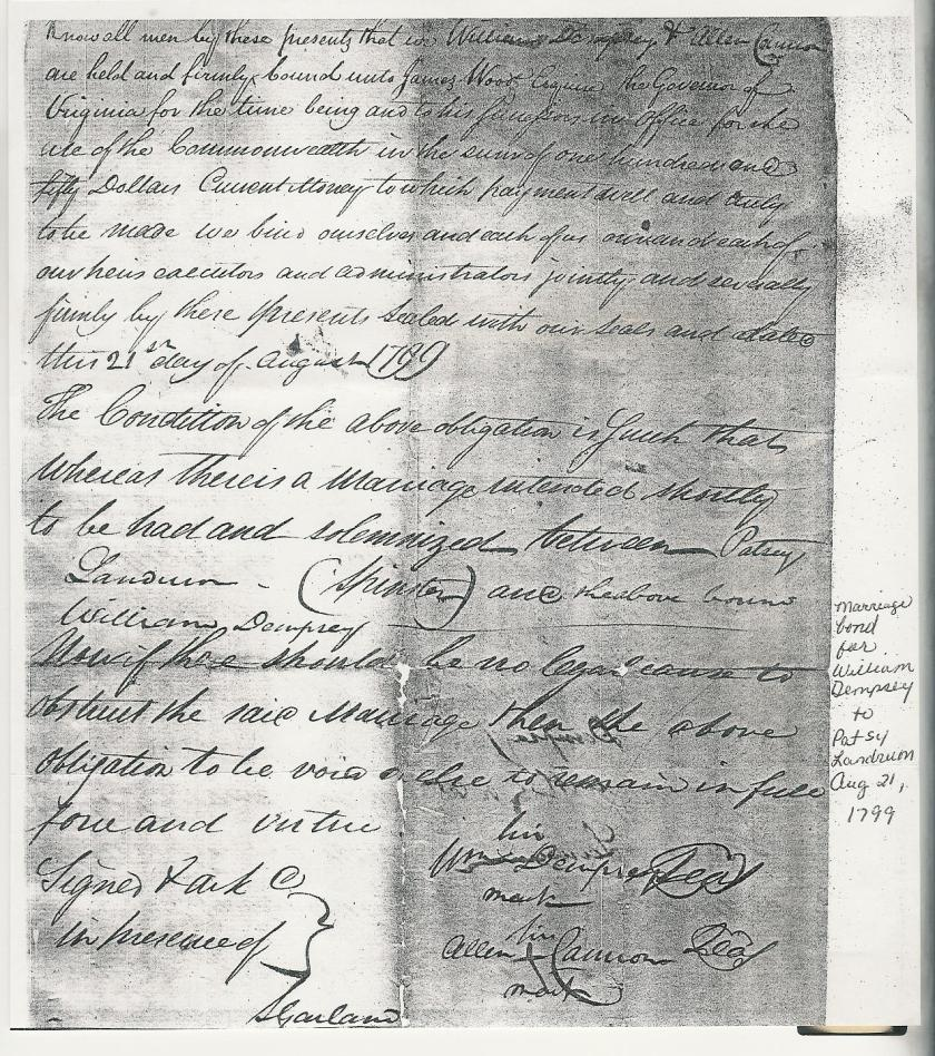 MRIN09274 1799 William Dempsey + Patsey Landrum Marriage Bond