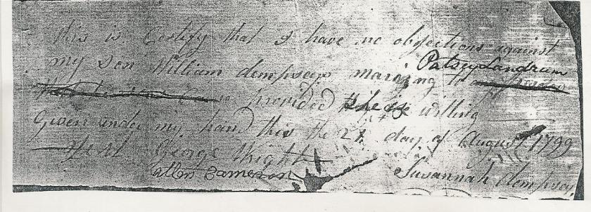 MRIN09274 1799 William Dempsey + Patsey Landrum Marriage Consent 1