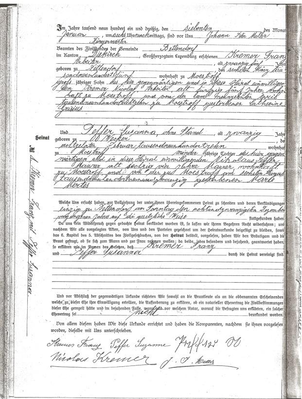 MRIN04944 1931 Franz Kremer and Suzanne Peffer marriage