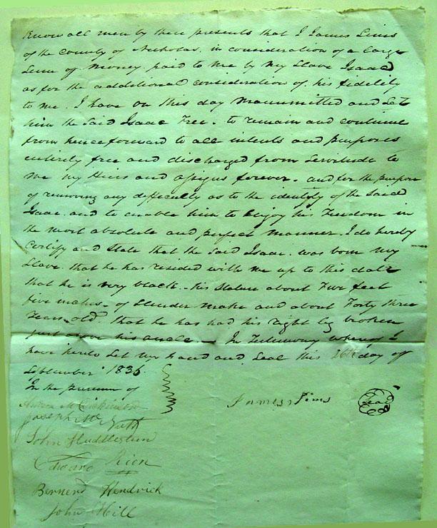Isaac Simms emancipation