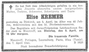 MRIN14674 1941 Elise Kremer death