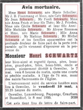 MRIN36755 1935 Henri Schwartz avis mortuaire