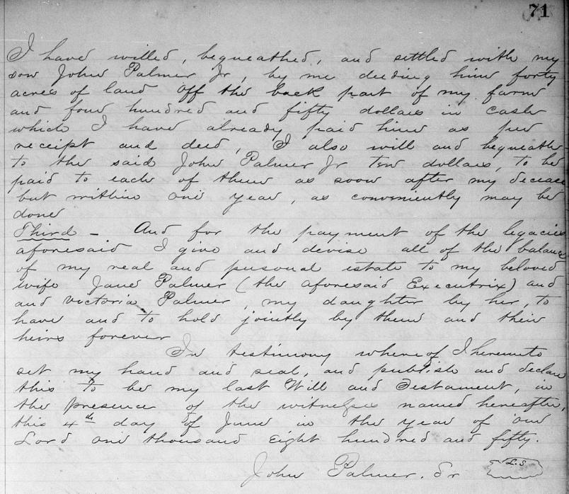Last Will and Testament of John PALMER Sr. (part 2)