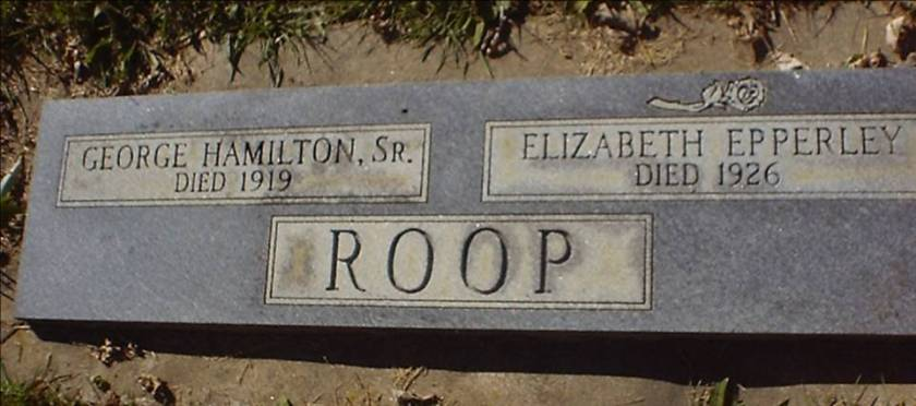 MRIN00478 Hamilton Null Roop and wife Mary Elizabeth Epperly grave marker