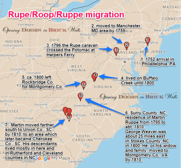 Rupe/Roop/Ruppe/Rupp Migration in the Years 1752-1820