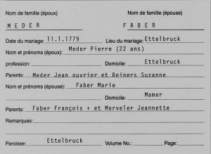 MRIN25783 1779 Pierre Meder and Marie Faber marriage index card
