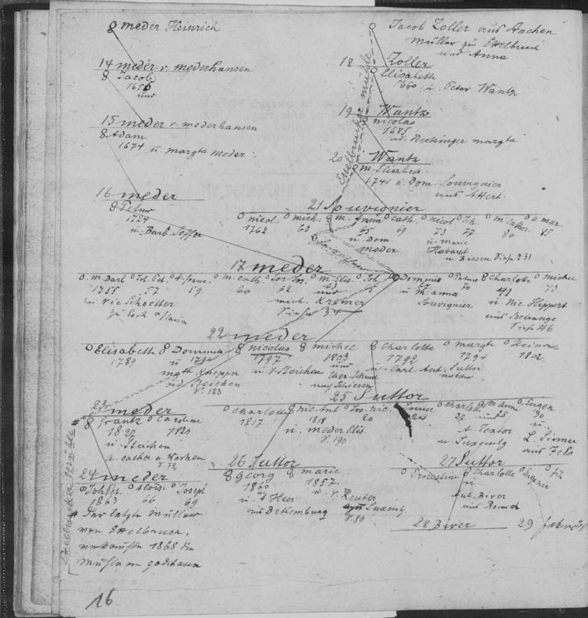 MRIN39230 MEDER Family Tree from 1600s to 1800s tiny
