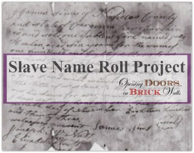 Slave Name Roll Project: RELEASING: Sarah and Benjamin