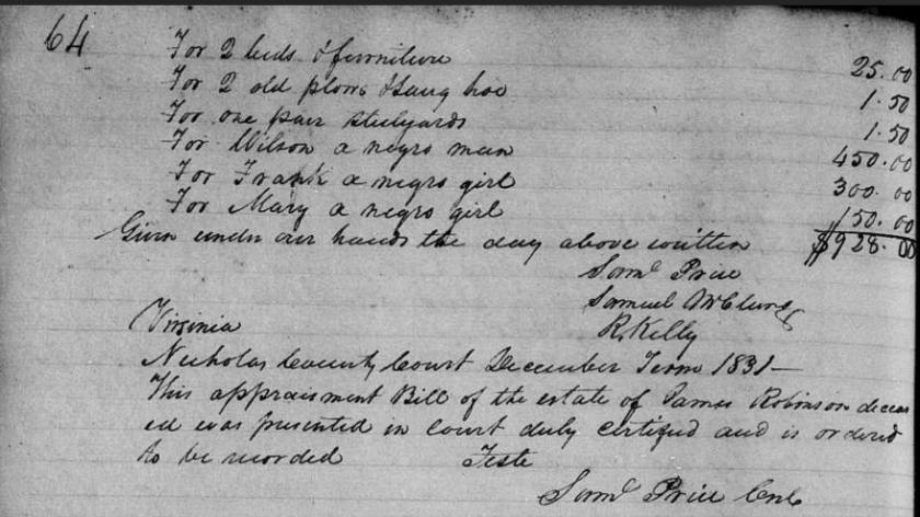 1831jamesrobinsonappraisementbill
