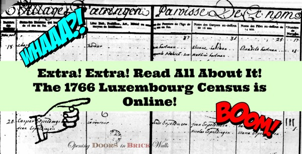 Extra! Extra! Read All About It! The 1766 Luxembourg Census is Online!