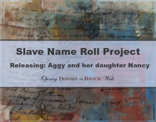 Slave Name Roll Project: RELEASING: Aggy and her daughter Nancy