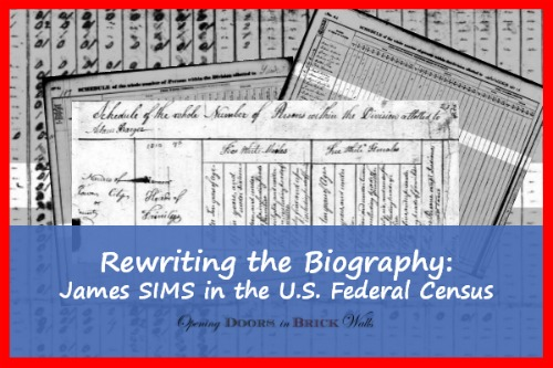 Rewriting the Biography: James SIMS in the U.S. Federal Census