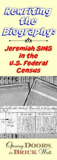 U.S. Federal Census Analysis for Jeremiah SIMS