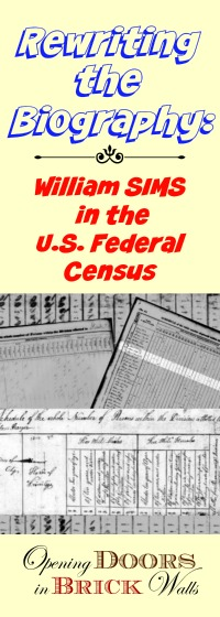 U.S. Federal Census Analysis for William SIMS