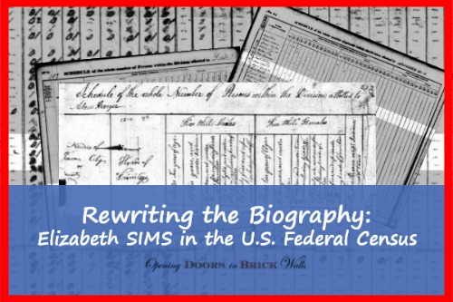 Rewriting the Biography: Elizabeth SIMS in the U.S. Federal Census