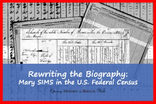 Rewriting the Biography: Mary SIMS in the U.S. FederalCensus