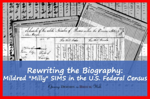 "Rewriting the Biography: Mildred ""Milly"" SIMS in the U.S. Federal Census"