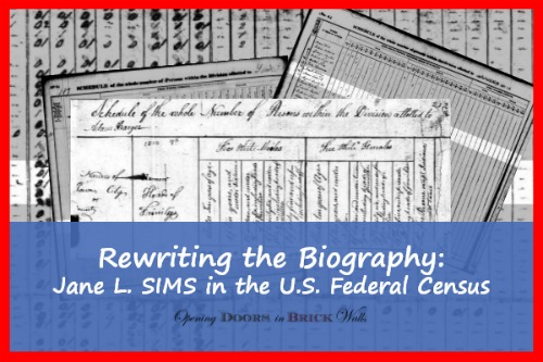 Rewriting the Biography: Jane L. SIMS in the U.S. Federal Census